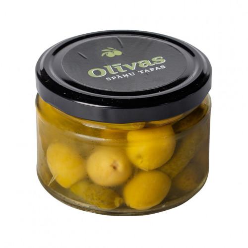 Zaļās olīvas Manzanilla pildītas ar pipargurķīšiem, 130g