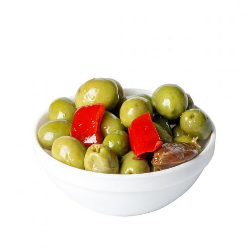 Zaļās olīvas ar kauliņiem Andalūzijas mērcē, 2.5kg